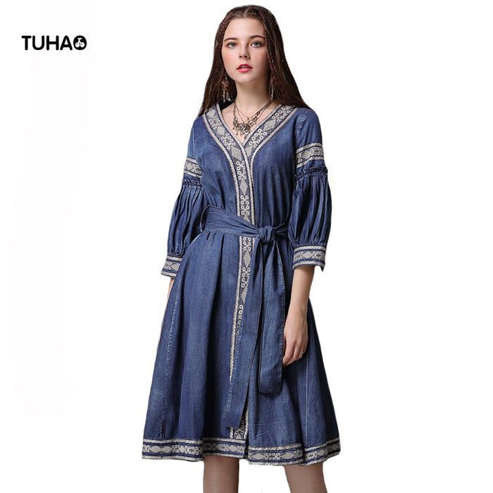 Sleeve Embroidery Dress V-neck Kimono Style Sashes High Waist Indie Folk