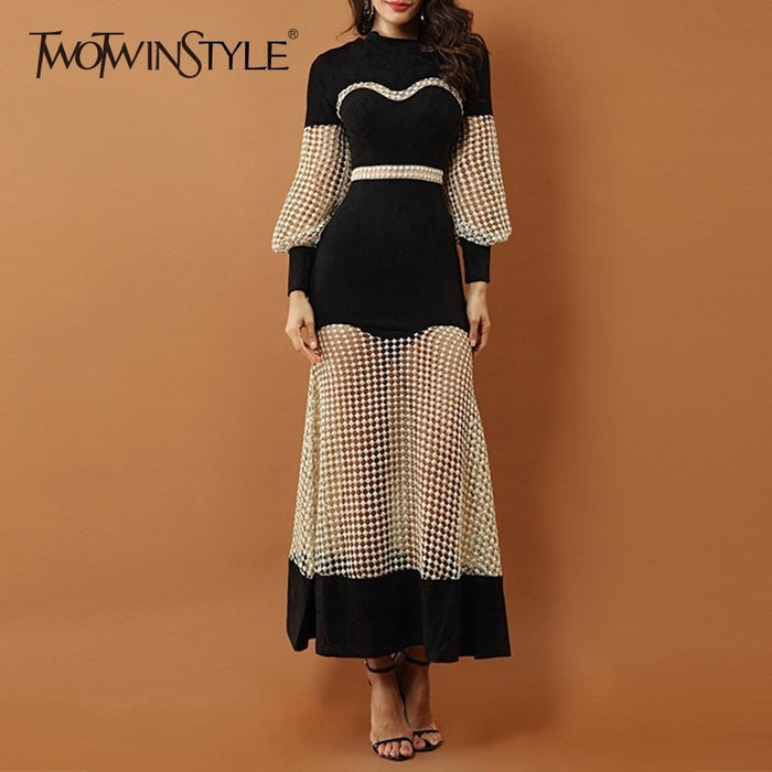 TWOTWINSTYLE Perspective Dress For Women High Waist Lantern Long Sleeve Hollow Out Patchwork Dresses Female 2018 Autumn Fashion