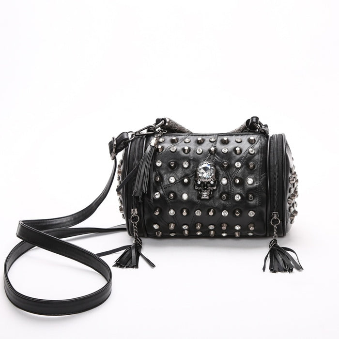 Tassel Bags Women Black Rock Rivets Punk Leather Handbags Patchwork Sheepskin Leather Shoulder Messenger Bag Punk Skull Purse