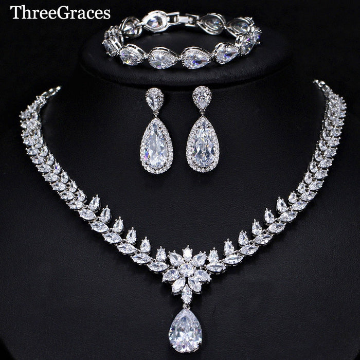 ThreeGraces 3 Piece Luxury CZ Long Water Drop Wedding Necklace Earrings Bracelet Jewelry Set For Brides Evening Party JS078