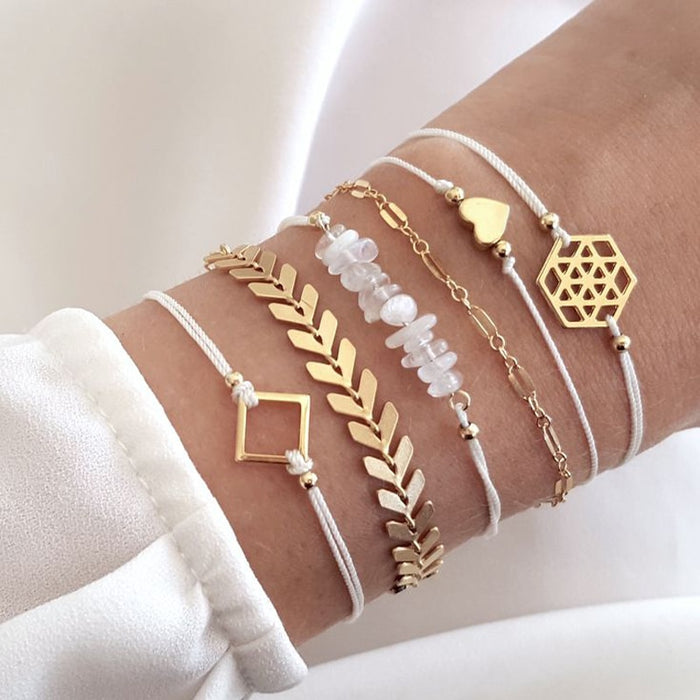 Tocona Geometric Beadeds Layered Charms Bracelets for Women Gold Color Arrow Heart Pendant Bracelets Set Party Jewelry 6792