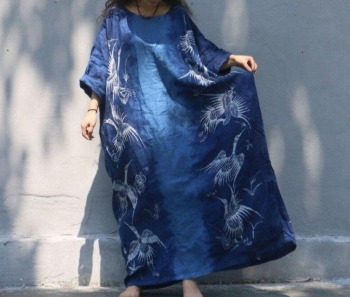 Top Quality Women Loose Maxi Long Dress Handmade Plants Dyeing Cotton Linen Priest Frock Robe Retro Printed Floor Length Dresses