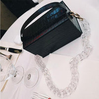 Transparent Acrylic Chain Box Bags Crocodile Handbags Casual Crossbody Bags for Women Tote Bag Clutches Purse Ladies Handbags