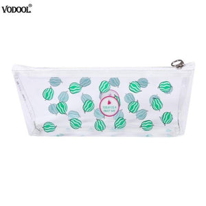 Transparent Fruit Print Pencil Bag Pencilcase Waterproof Bath Shower Pen Holder Organizer Stationery Women Girls Gifts Supplies