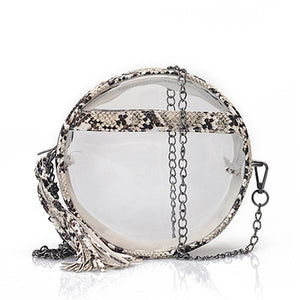 Transparent PVC Jelly Chains Round Messenger Bags for Women Bag Clear Serpentine Shoulder Crossbody Bag Ladies Circular Purses