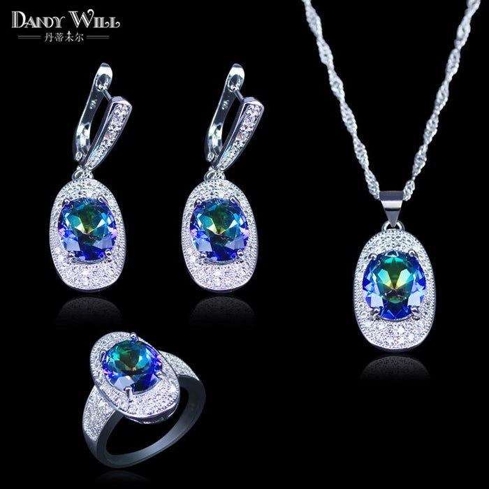 Trendy 3 Piece Natural Rainbow Big Oval Stone Ring Earrings And Pendant 925 Stamp Silver Color Jewelry Set For Women