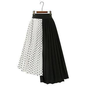 Trytree summer Autumn women Dot skirt Casual Polyester Chiffon Asymmetry Elastic Waist Pleated Skirt Fashion Plus Size skirts