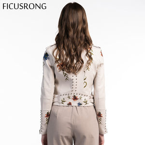 Outerwear Women Floral Print Embroidery Faux Soft Leather Jacket Coat