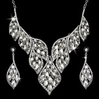 Two-piece earring necklace alloy + glass drill collar Vintage Crystal Pendant Necklace Earrings Sets Jewelry Gift 2 piece set
