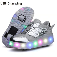 Children One Two Wheels Luminous Glowing Sneakers Gold Pink Led Light Roller