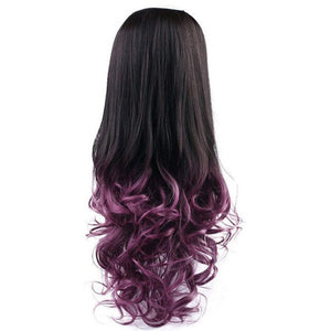 U Part Half Wig Synthetic Curly For Women Clip in on Ombre Hair Extension Long Wig European Natural Invisible Fiber