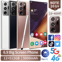 Note20U+ 6.9 inch 3.5D Full Display Android Smartphones 5G LET Cellphones 12GB+512GB MTK6889 10-Core Mobile Phone with TouchPen