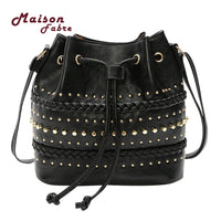 U6#Maison Fabre Ladies Handbag Women Solid Color Rivets Shoulder Bag Messenger Bag Tote Drawstring Bucket Bag Torebka damska