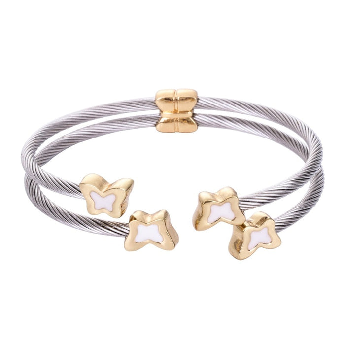 Chran Classic Enamel Animal Butterfly Design Silver Plated 2 Pave Stainless Steel Cable Wire Bangles