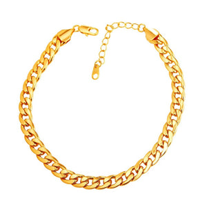U7 New Hot Arrival Classical Foot Chain Jewelry For Women Men Gold Color 30cm 7mm Width Cuban Link Chain Anklet Bracelet A328