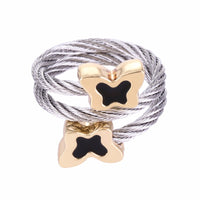 Chran Charm Animal Design Butterfly Rings Fashion Stainelss Steel Cable Couple Rings for Women