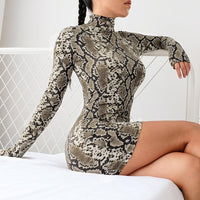 Vintage sexy Animal Snake skin print bodycon mini dress Turtleneck Long sleeve slim Fall party women street style vestidos 2019
