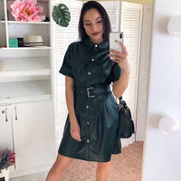 Women Pu Leather Sashes Mini Dress Office Ladies Turn Down Collar Short Sleeve Casual Dress 2020 New Spring Party A Line Dresses