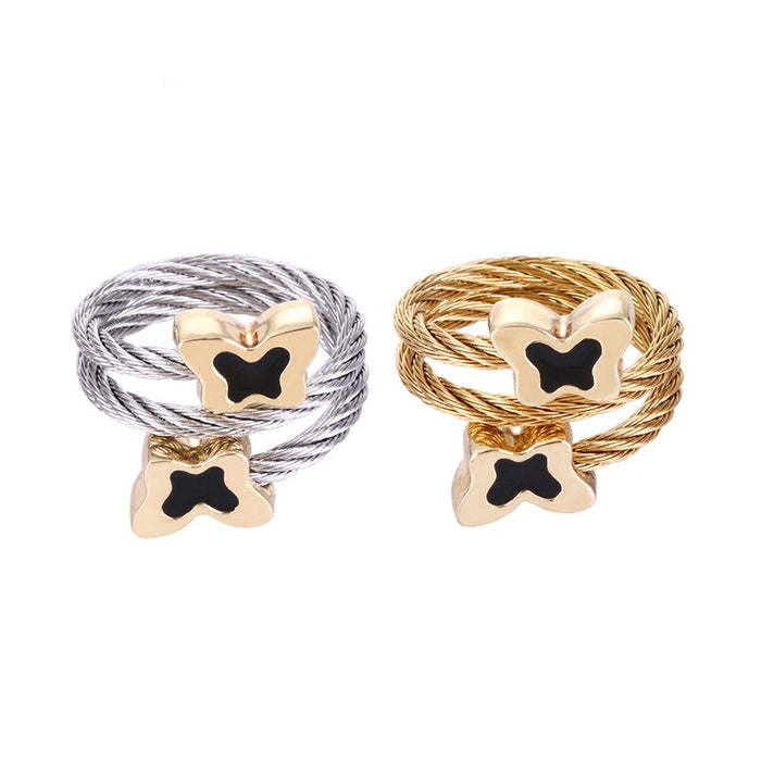 Chran Charm Animal Design Butterfly Rings Stainelss Steel Cable Couple Rings for Women