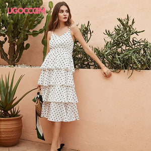 UGOCCAM Polka Dress Women Summer Sling Elegant Polka Dots White Chiffon A-line Midi Female Plus Size Lady Beach Boho Dress