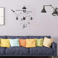 TECHOME Creativity Diy Cartoon Children Wall Clock PVC Wall Sticker for Kids Rooms Home Decoration Accessories