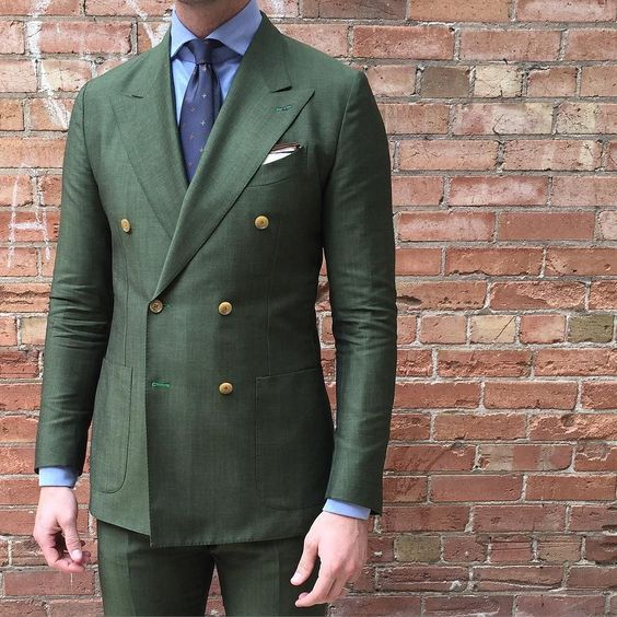 2020 Double Breasted Green Men Suits Terno Slim Fit Fashion Party Wedding Tuxedo