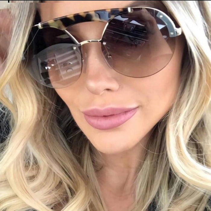 Woman Fashion 2019 Luxury Sunglasses Double Bridge Oversized Round Sunglasses Vintage