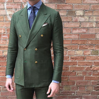 2020 Double Breasted Green Men Suits Terno Slim Fit Fashion Party Wedding Tuxedo For Men Formal Groom Suits With Pants Blazer