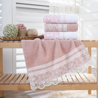 Turkish Towel Luxury Lace Bath Hand Towel Beach Towel Face Towel Set 4 pcs 50x90 cm Embroidered 100% Cotton Turkish Towel Set