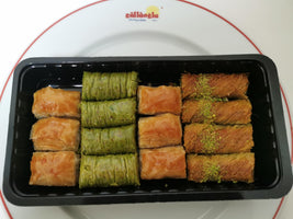 Gulluoglu Assorted Baklava (Pistachio, Walnut, Twisted Pistachio Kadaif and Pistachio Wrap) Total 14pieces  (1.1lb - 500gr)
