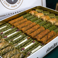 Traditional fresh delicious premium mixed Turkish baklava with pistachio. Dessert Baklava Turkish Famous Brand pistachio Baklava