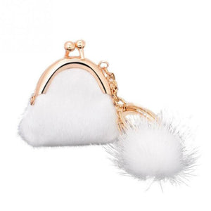 Unique Keychain Women Handbag Keychain Pompon Keychain Fur Plush Key Ring Holder Girls Bags Charm Women's Jewelry Bag Pendant