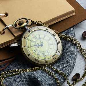 Unique Men Women Vintage Pocket Watch Roman Numerals Fob WatchGlass Dial Necklace Pendant Clock Time with Chain Character Watch