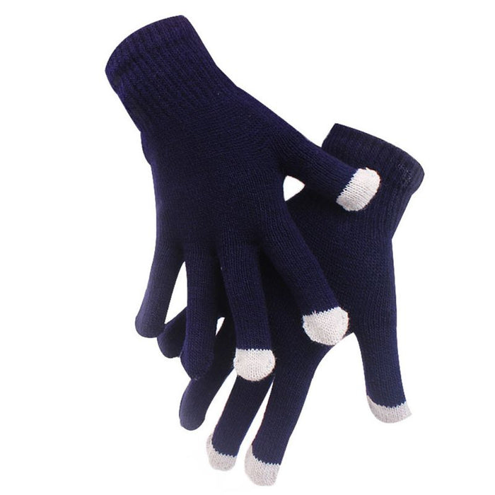 Unisex Short Full Finger Gloves Ribbed Knitted Magic Touch Screen Texting