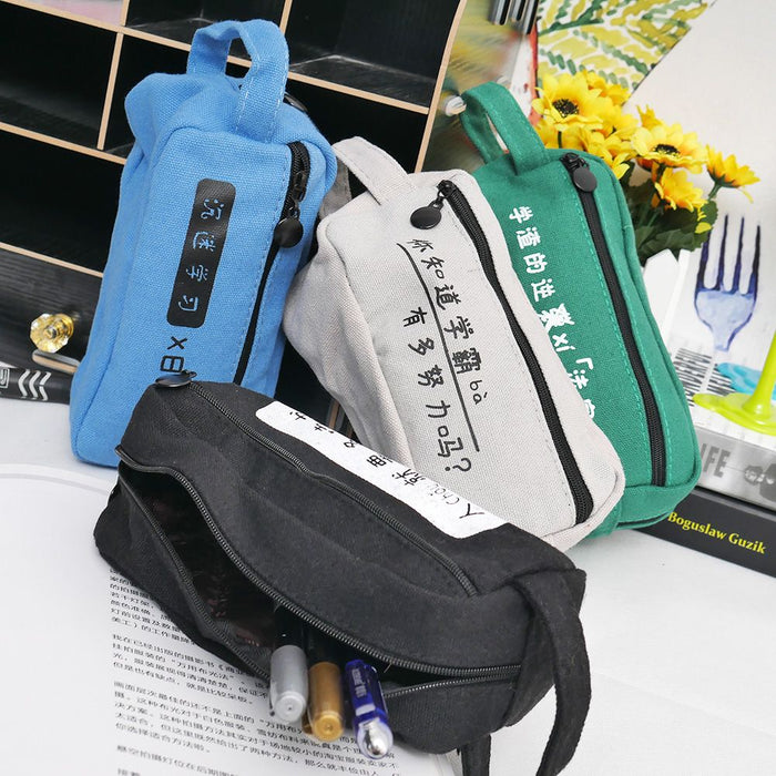 Unisex Women Men Stationery Canvas Zipper Pen Pencil Case Cosmetic Bag School Stationery