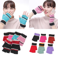 Unisex Women Men Winter Knitted Half Finger Gloves Colorful Snowflake