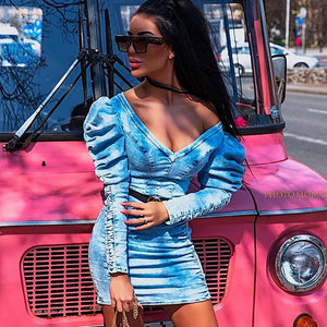 V Neck Denim Casual Dress Women Puff Sleeve Drawstring Sexy Jeans Summer Dress Elegant Ladies Ruched Short Bodycon Dress Robe