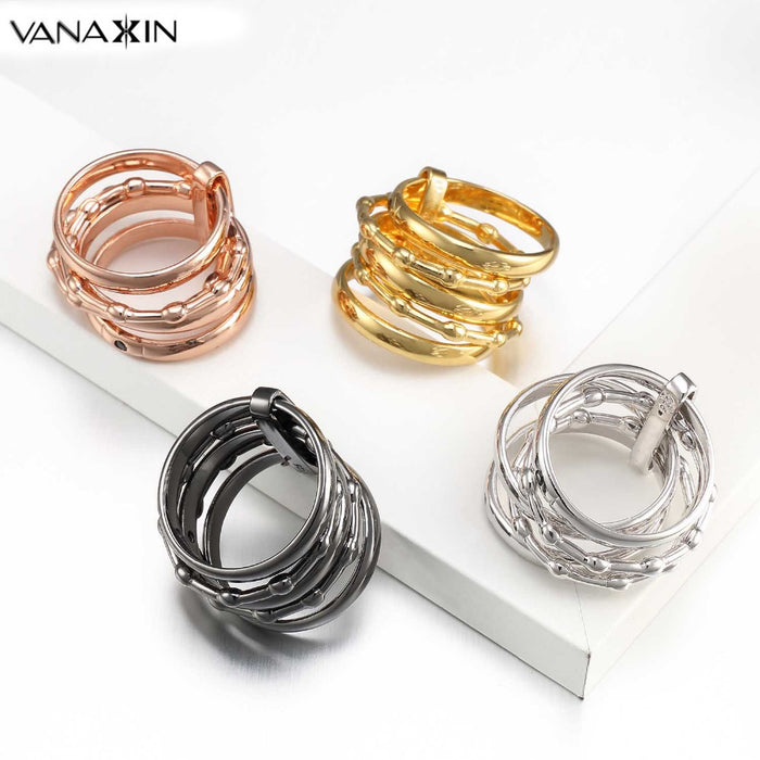 VANAXIN Women's Unique Rings 925 Sterling Silver 5 Circle Interlocked Stacked AAA CZ Wide Statement Party Bijoux Accessories