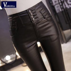 Women Pants Female Leather Velvet Trousers Elastic Pencil Skinny pants Women's