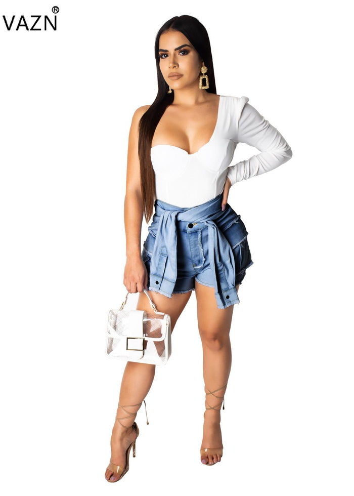 VAZN 2019 New Arrive Casual Age Reduction Denim Pants Women Solid 3 Color Lace Up Short Pants Lady High Bodycon Pants OSM3268