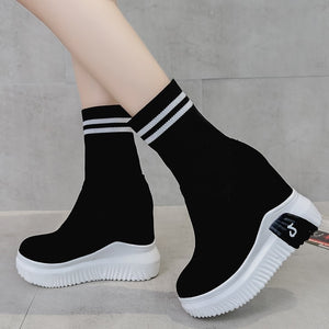 VIGOR FRESHNESS Woman Shoes Ankle Sock Boots Women Super High Heels Short Elastics Boots Autumn Shoes Platform Sneakers WY187