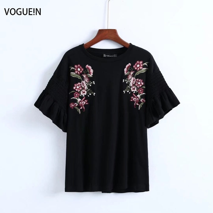 VOGUEIN New Womens Casual Black Short Sleeve Floral Embroidered Tops Wholesale