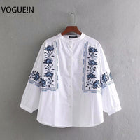 VOGUEIN New Womens Casual Blue Floral Embroidered 3/4 Sleeve White Top Shirt Blouse Wholesale