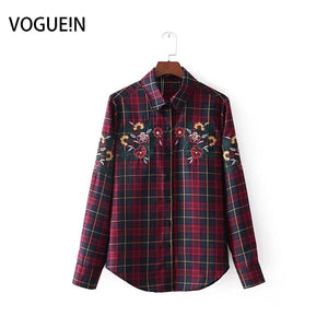 VOGUEIN New Womens Checks&Plaids Embroidered Floral Long Sleeve Blouse Shirts Tops Wholesale