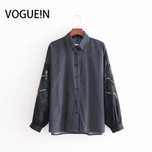 VOGUEIN New Womens Embroidered Floral Sequins Long Sleeve Tops Shirt Blouse Wholesale