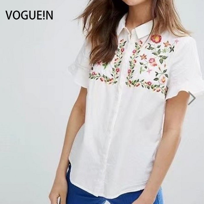 VOGUEIN New Womens Floral Embroidered Short Sleeve Button Down Shirt Blouse Tops Size SML Wholesale