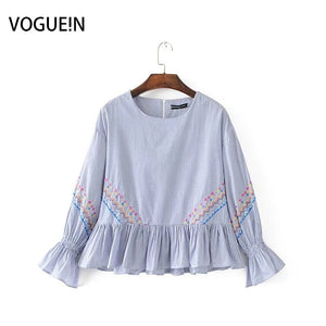 New Womens Ladies Striped Print Floral Embroidered Ruffled Sleeve