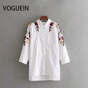 VOGUEIN New Womens Lapel Floral Embroidered White Button Down Shirt Tops Wholesale