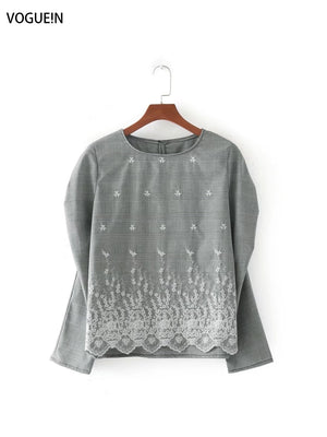 VOGUEIN New Womens Round Neckline Gathered Shoulder Embroidered Checked Blouse Tops Shirt Wholesale