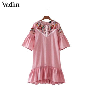Vadim women sweet ruffles floral embroidery striped dress o neck half sleeve ladies summer casual mini dresses vestidos QZ3016